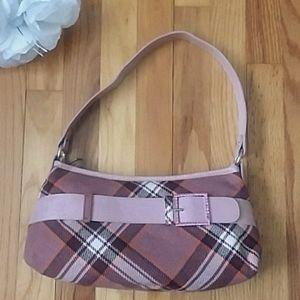 Mussio DeGroot Pink Plaid Wool & Leather Handbag